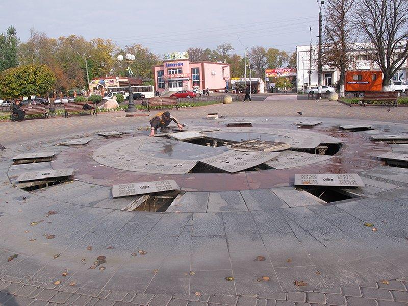 У Борисполі світловий фонтан замість водяного